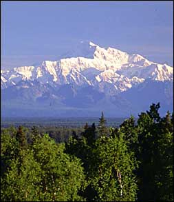 Photo:  Denali, Mt. McKinley, 20,320 Feet<br><b>Call 1-877-777-2805 to<br>book your vacation today!</b>
